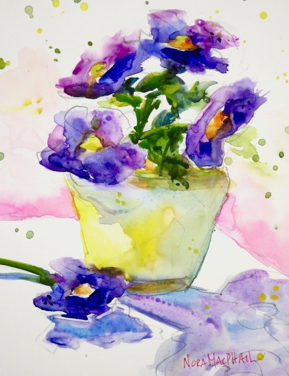 """February's Flowers - the violet"" original fine art by Nora MacPhail"