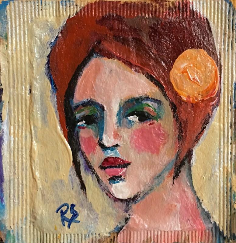 """""""Tea Bag Portrait - Ginger"""" original fine art by Roberta Schmidt ArtcyLucy"""