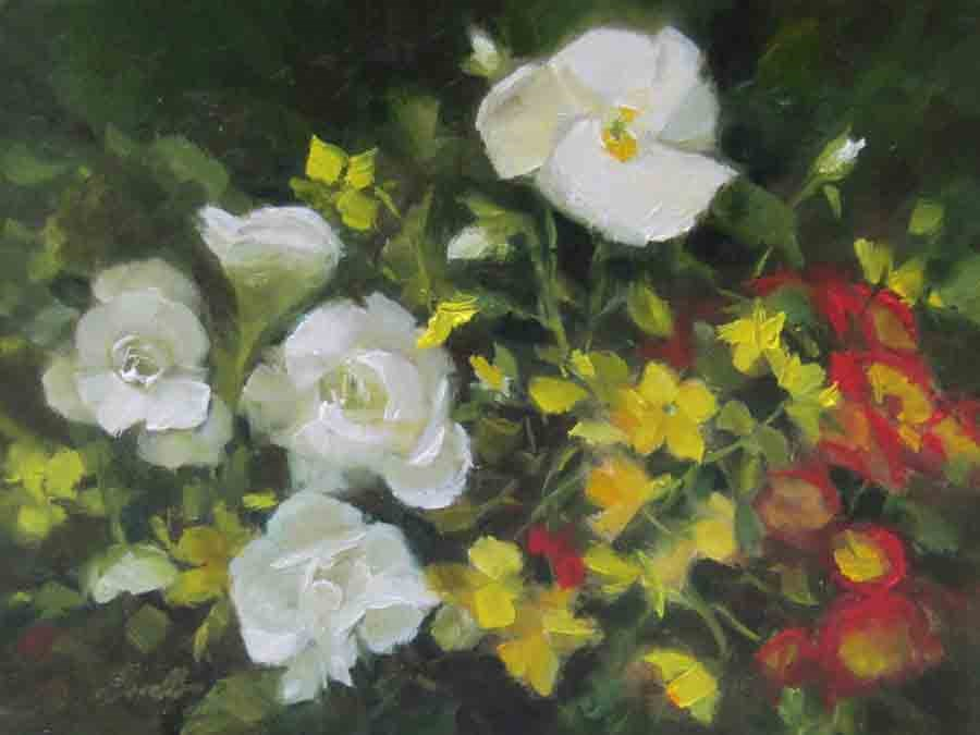"""""""Begonias and Pansy"""" original fine art by Pat Fiorello"""