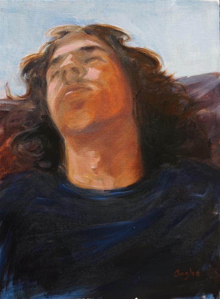 """""""Young Man in Black T-shirt"""" original fine art by Angela Ooghe"""