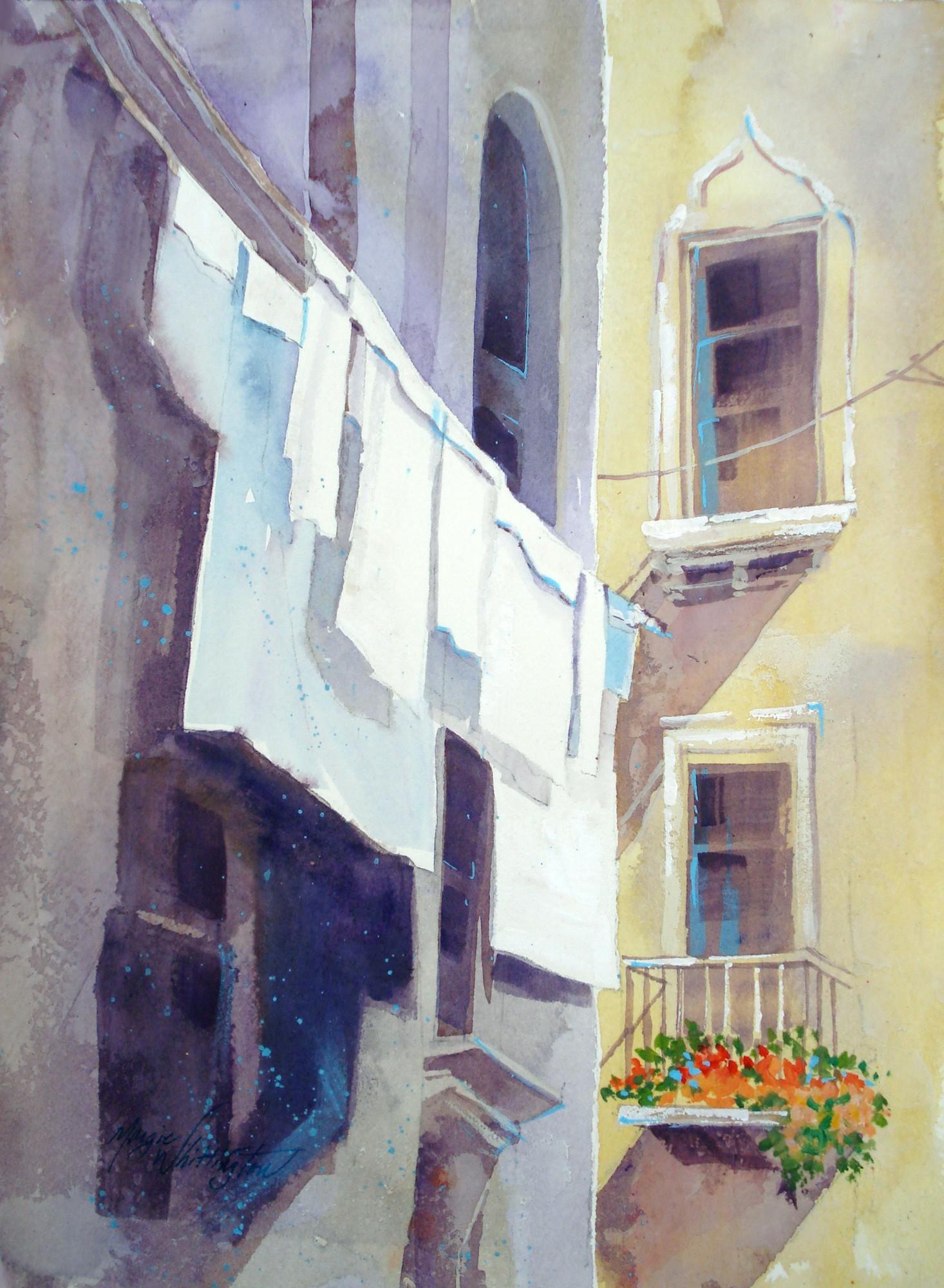 """Laundry Day"" original fine art by Margie Whittington"
