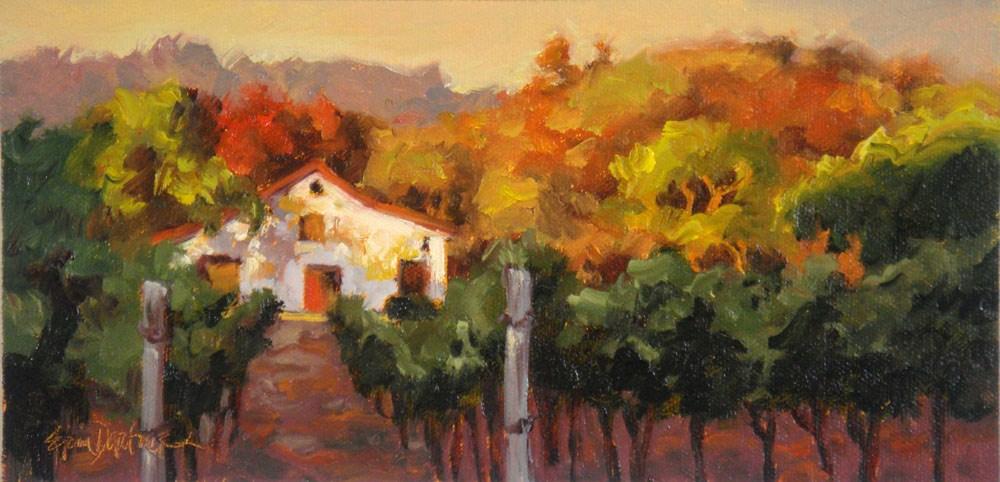 """Amber Oaks, Emerald Vines"" original fine art by Erin Dertner"