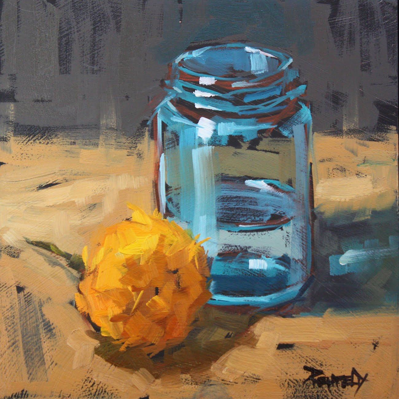 """""""Turquoise Jar and Marigold - sold"""" original fine art by Cathleen Rehfeld"""