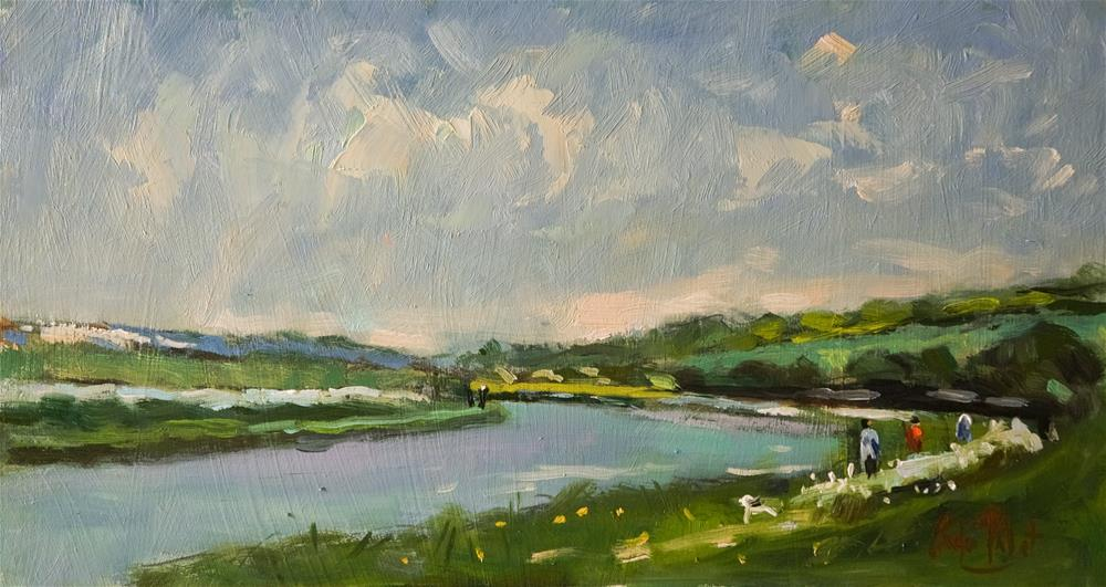 """""""River Arun (with figures)"""" original fine art by Andre Pallat"""