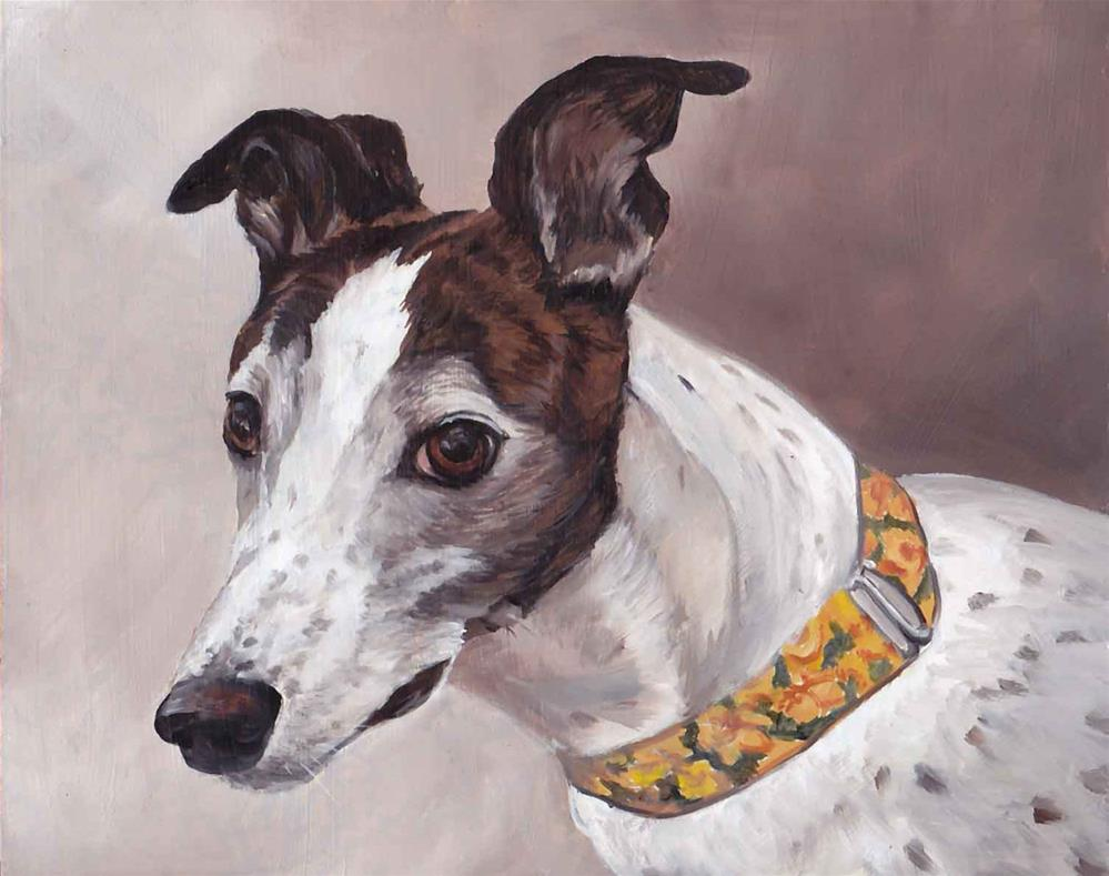 """Brindle and white greyhound"" original fine art by Charlotte Yealey"