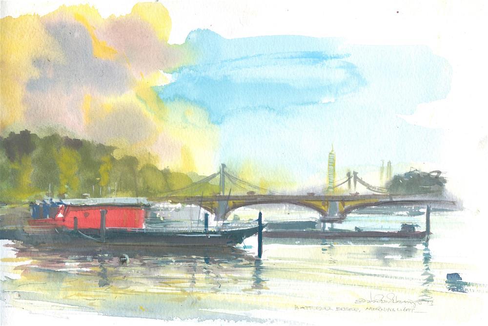 """Morninglight, Battersea Bridge"" original fine art by Adebanji Alade"