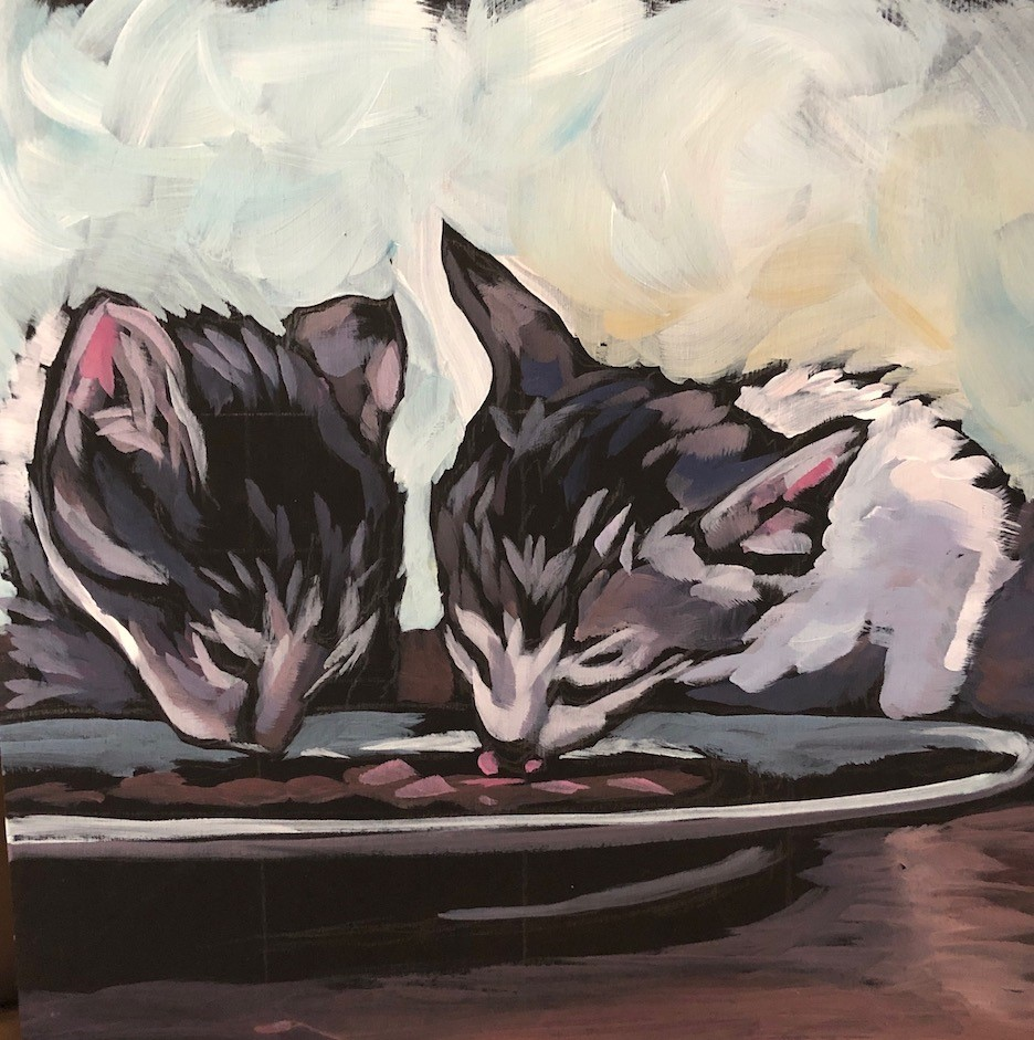 """Dining Duo"" original fine art by Kat Corrigan"