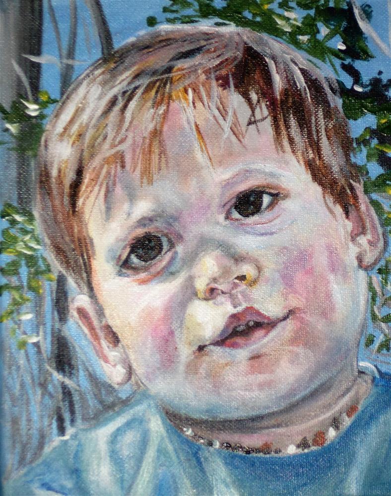 """Little boy in the sun portrait"" original fine art by tara stephanos"