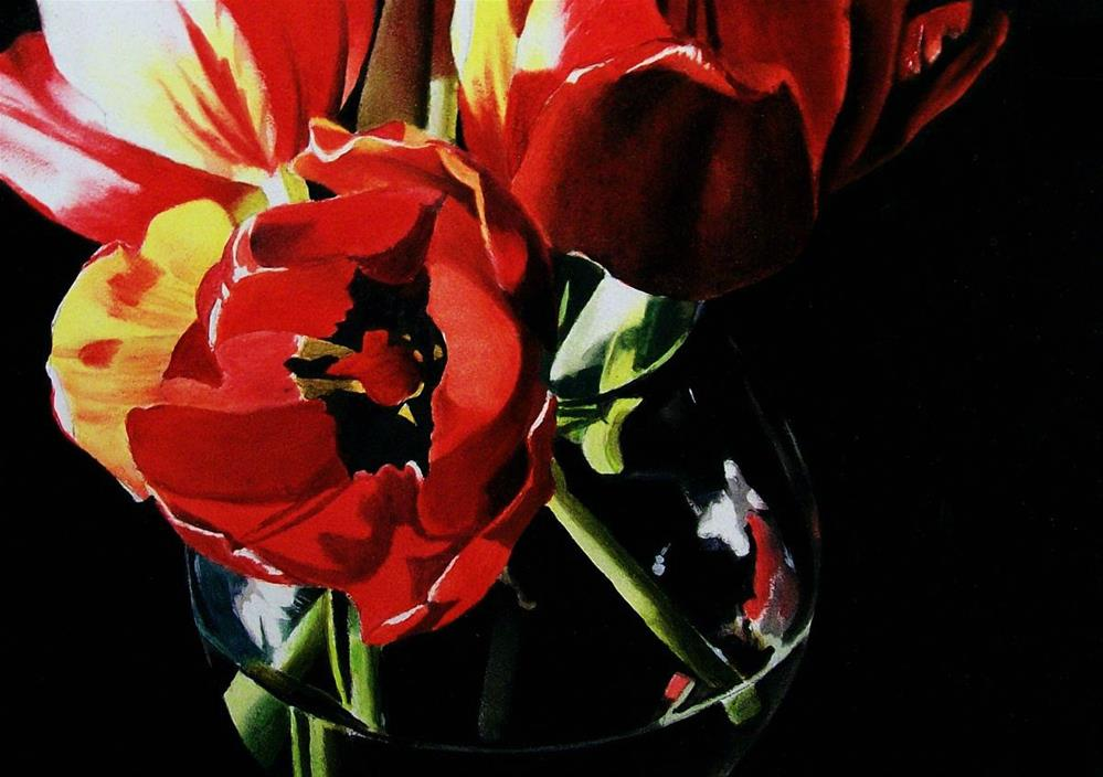 """Tulips with Black Centers"" original fine art by Jacqueline Gnott, TWSA, WHS"