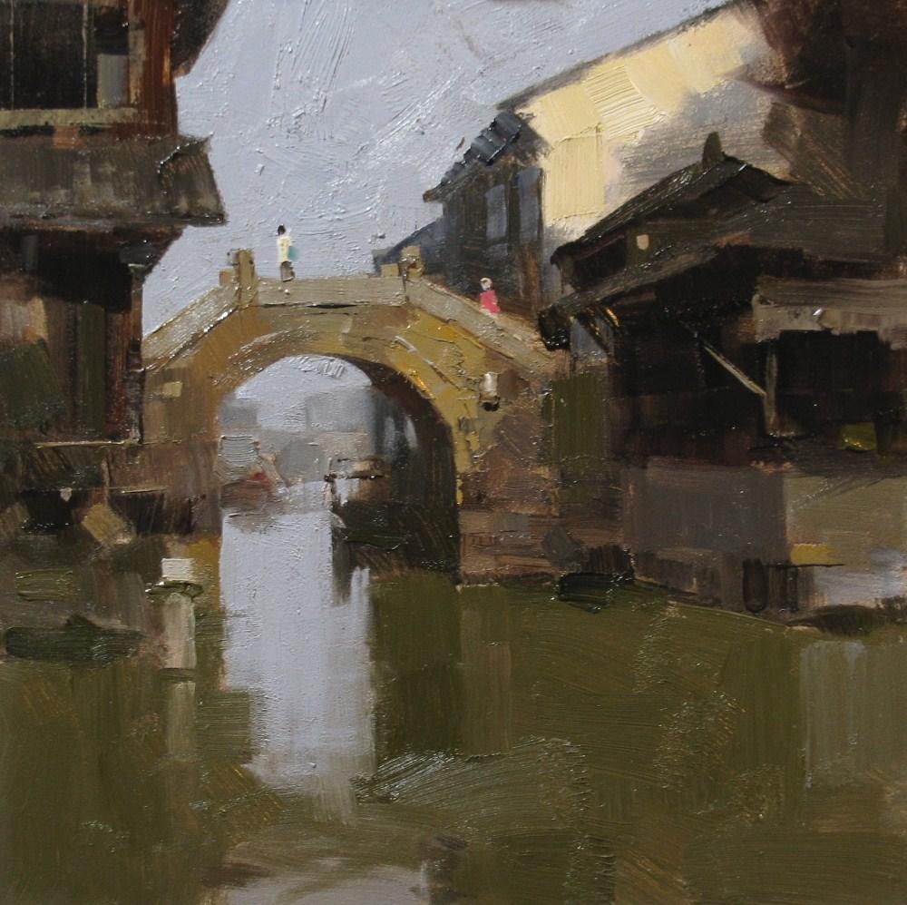 """""Small Stone Bridge"" original fine art by Qiang Huang"