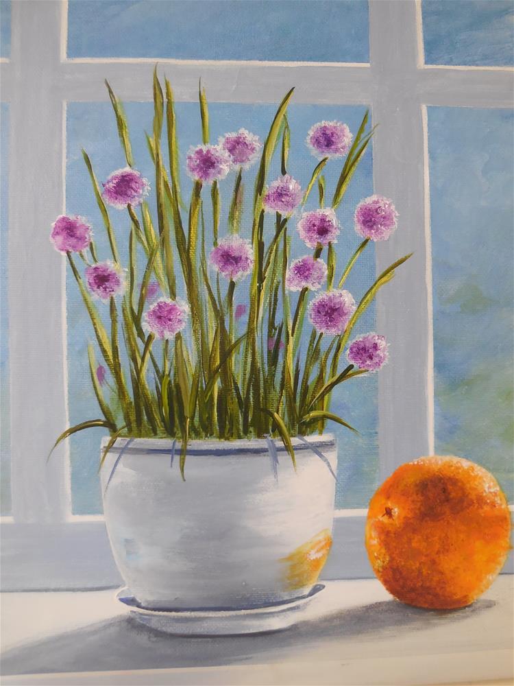"""Chives in the Window"" original fine art by Terri Nicholson"