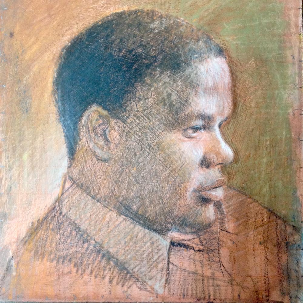 """Thoughts & Reflections (Selfie)"" original fine art by Adebanji Alade"