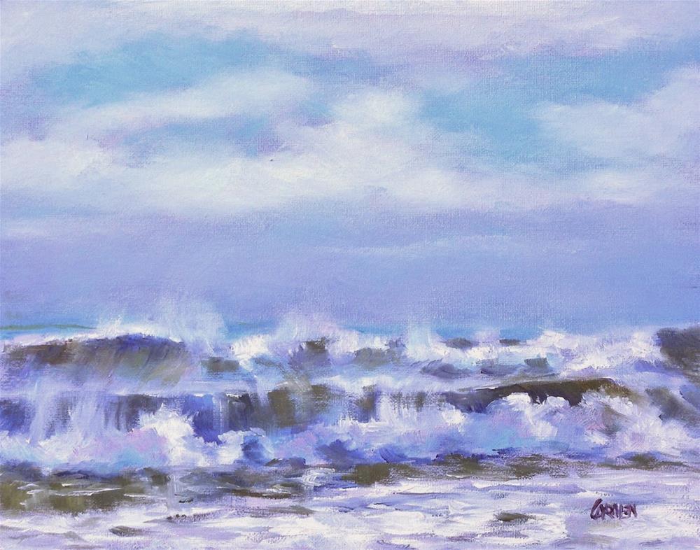 """Salt Spray, 10x8 Original Oil Painting Seascape"" original fine art by Carmen Beecher"