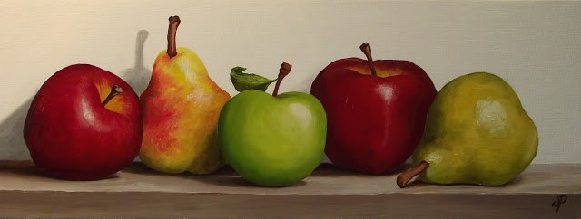 """""""Apples and Pears"""" original fine art by Jane Palmer"""