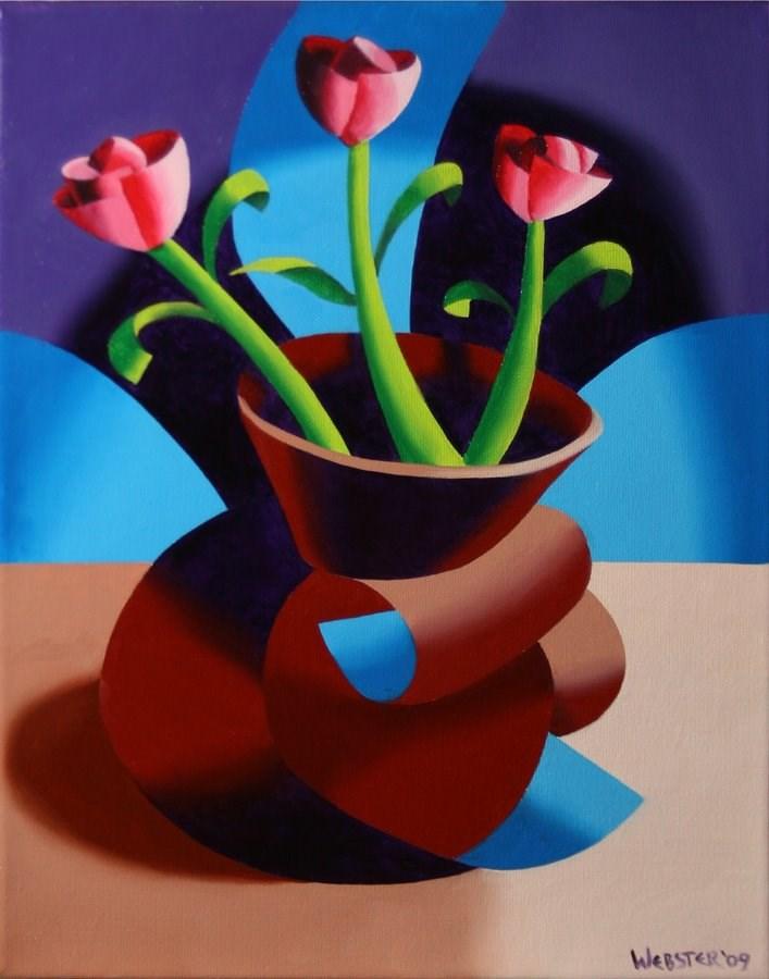 """Mark Webster - Futurist Dancing Abstract Flower Pot Still Life Oil Painting - Step Two"" original fine art by Mark Webster"