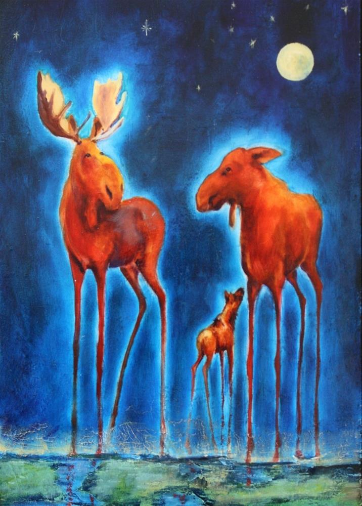 """""""By the Light of the Silvery Moon"""" original fine art by Colleen Drury"""