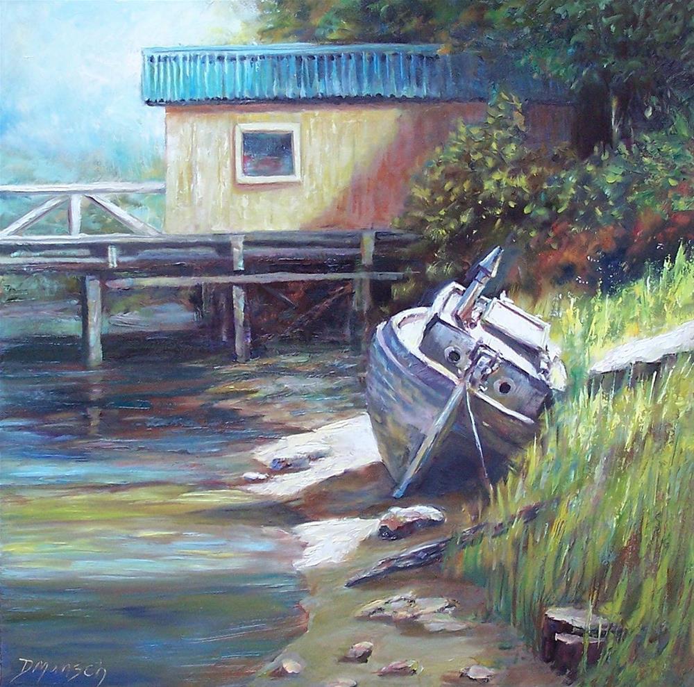 """""""Beach Boat"""" original fine art by Donna Munsch"""