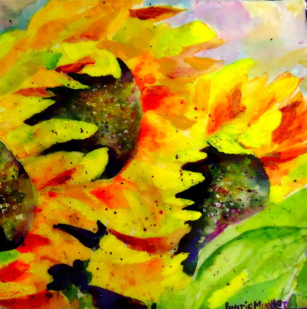 """""""Two Sunflowers #1"""" original fine art by Laurie Mueller"""