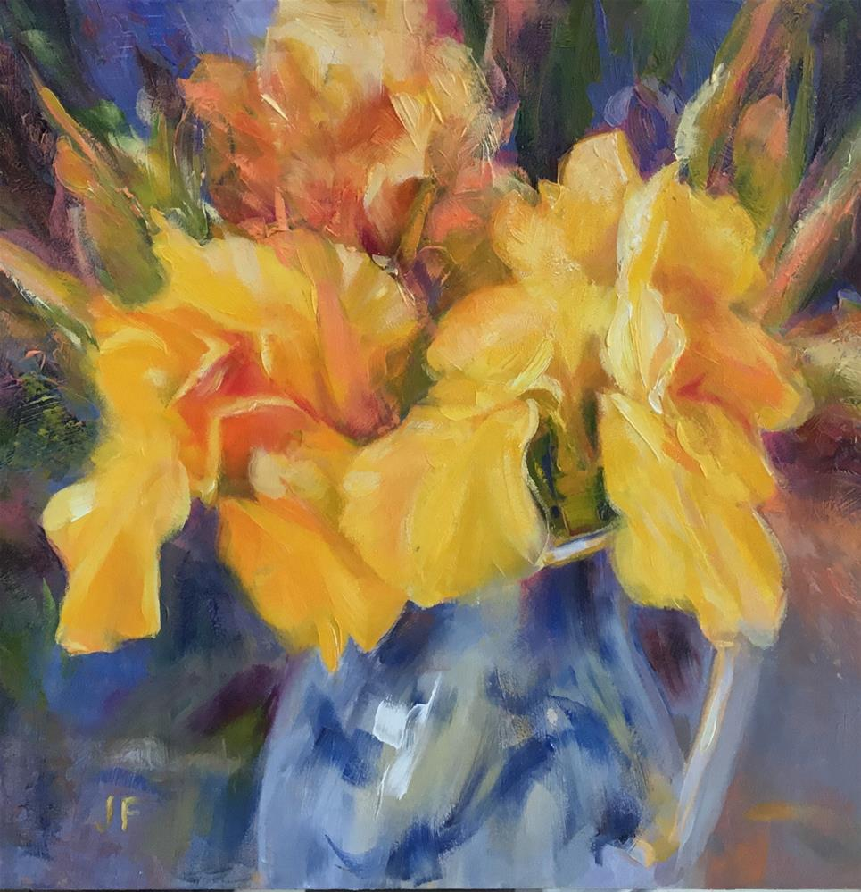 """""""Blue and White Pitcher with Yellow Irises"""" original fine art by Charlotte Fitzgerald"""