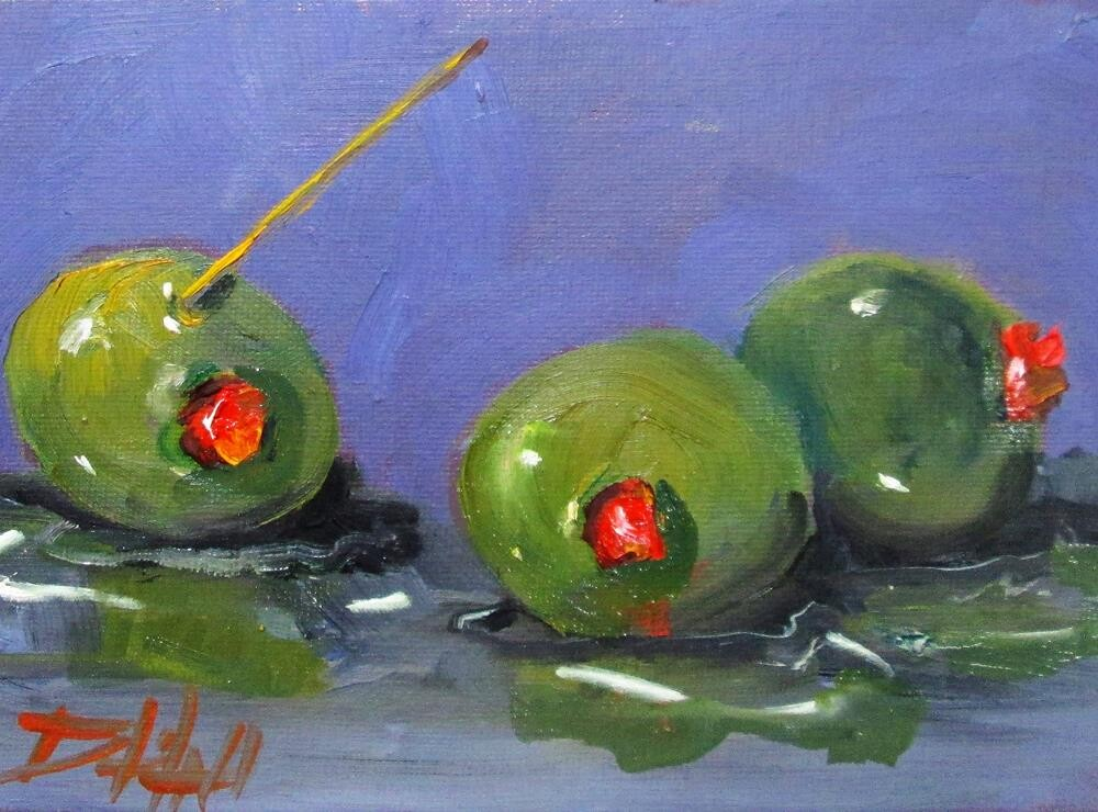 """""""Three Olives"""" original fine art by Delilah Smith"""