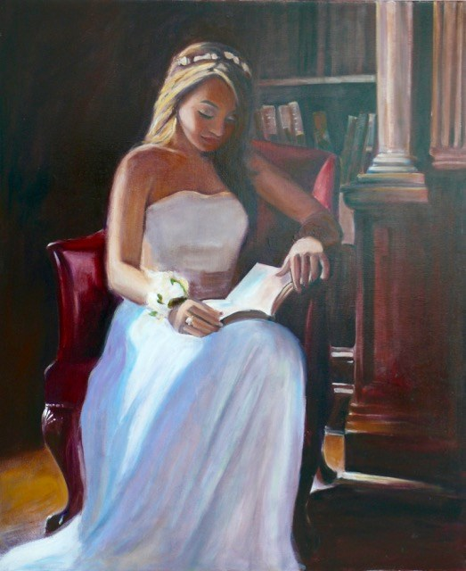 """946 Girl in the Library, oil on canvas, 30x36"" original fine art by Darlene Young"