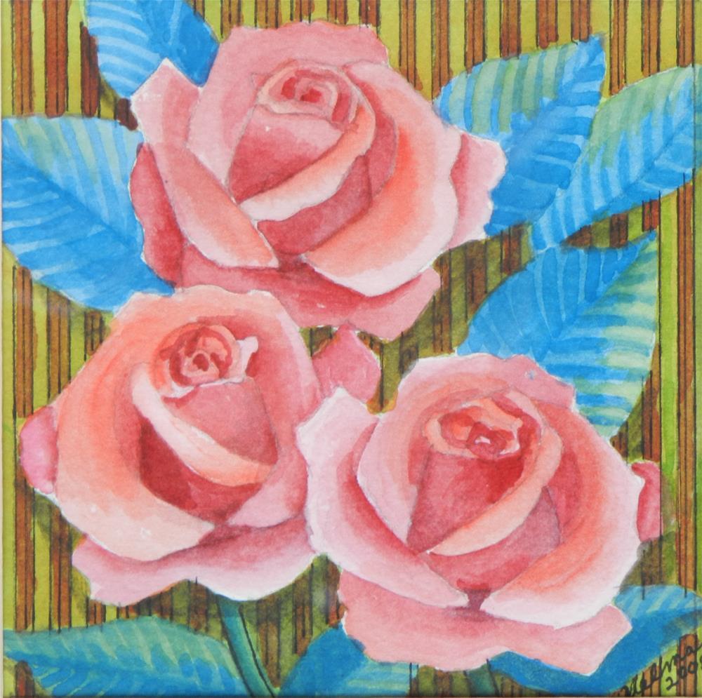 """Three Red Roses"" original fine art by Velma Davies"