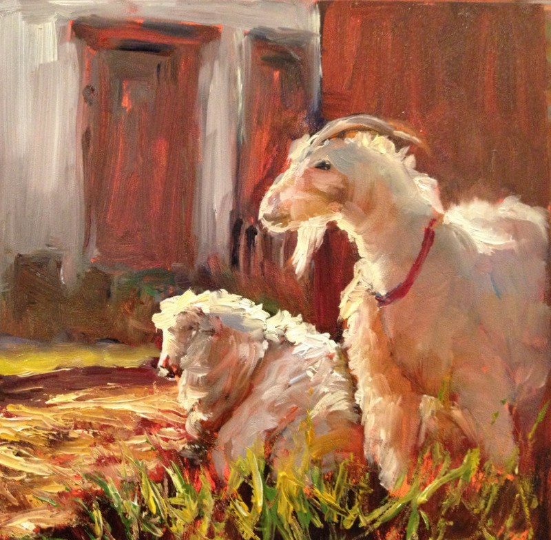 """""""Billy Goat, Day 19"""" original fine art by Claudia L Brookes"""