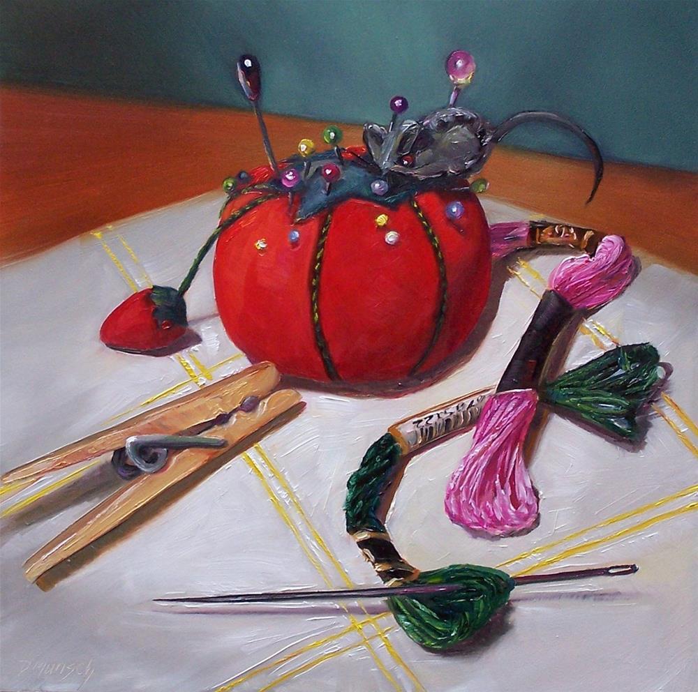 """Sewing Notions"" original fine art by Donna Munsch"