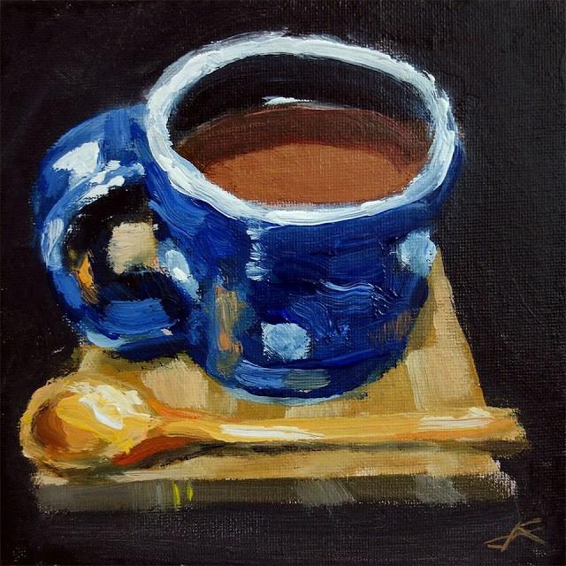 """Coffe and Spoon"" original fine art by J. Farnsworth"