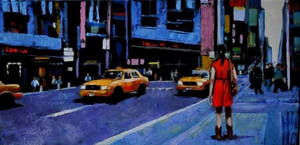 """Off Broadway 2 12x24 oil on canvas"" original fine art by David Larson Evans"