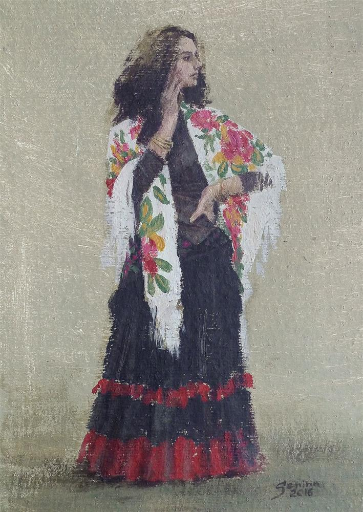 """Standing Gypsy"" original fine art by Elena Senina"
