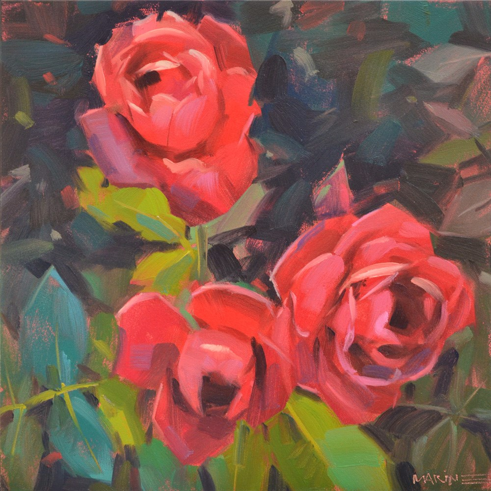 """""""Paint the Roses Red"""" original fine art by Carol Marine"""