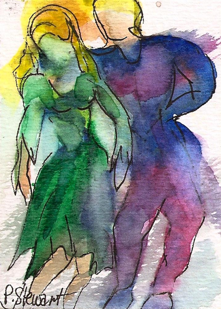 """ACEO Dance contest, Couple #2, Swing"" original fine art by Penny Lee StewArt"