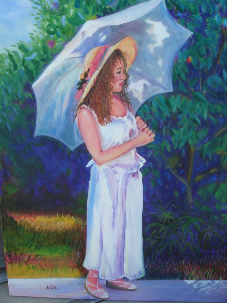 """Strolling in the Garden"" original fine art by Susan Duda"