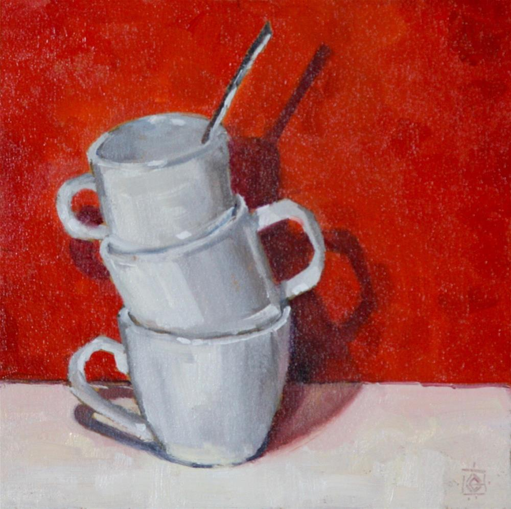 """""""Cups with Red"""" original fine art by Carol Granger"""