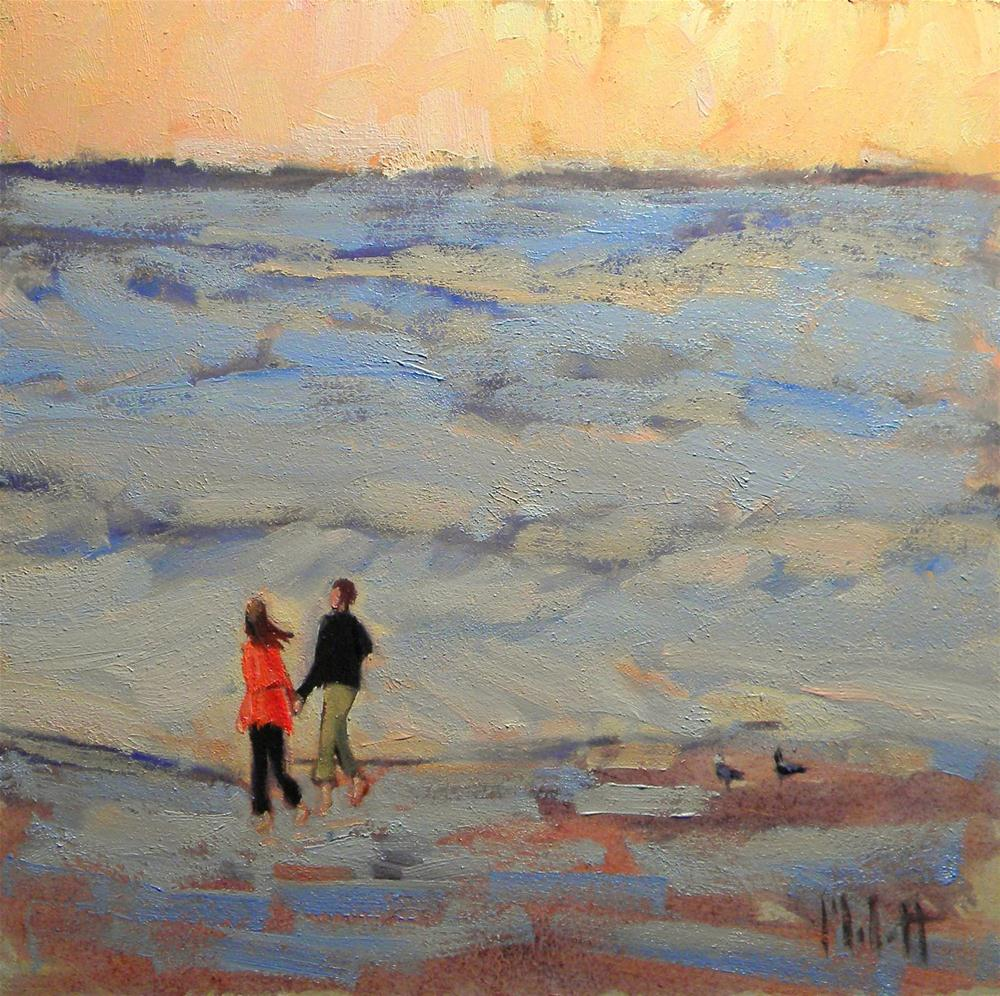 """Newlyweds Barefoot on the Beach"" original fine art by Heidi Malott"