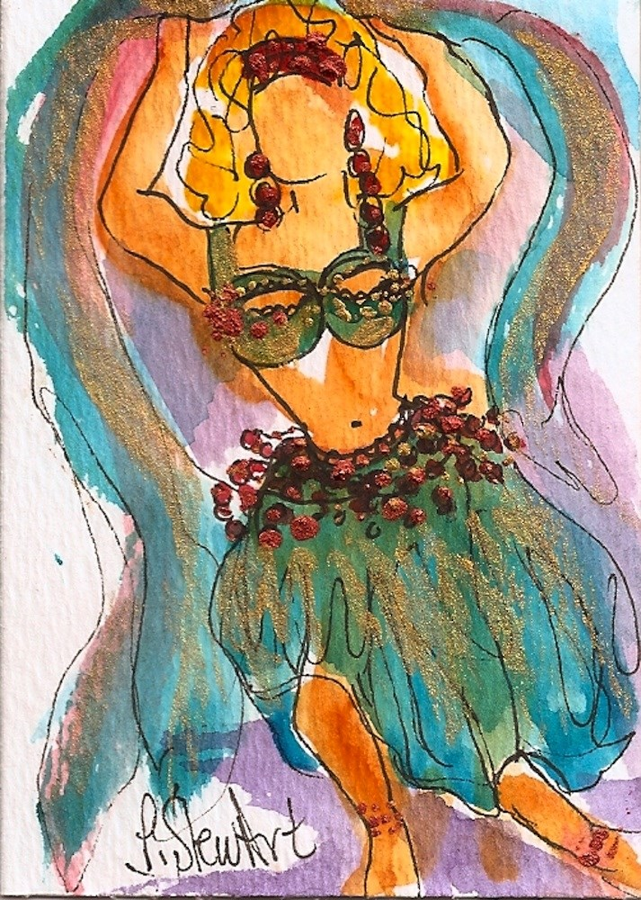 """ACEO Belly Dancer #2 Series - Watercolor and Pen, w/Metallic Accents, original"" original fine art by Penny Lee StewArt"