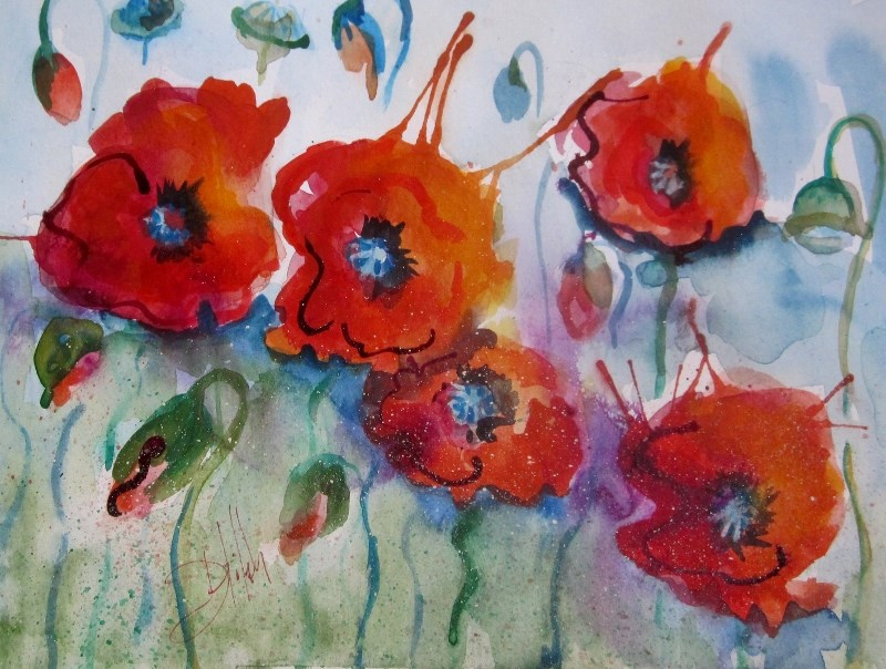 """""""A Brust of Poppies"""" original fine art by Delilah Smith"""