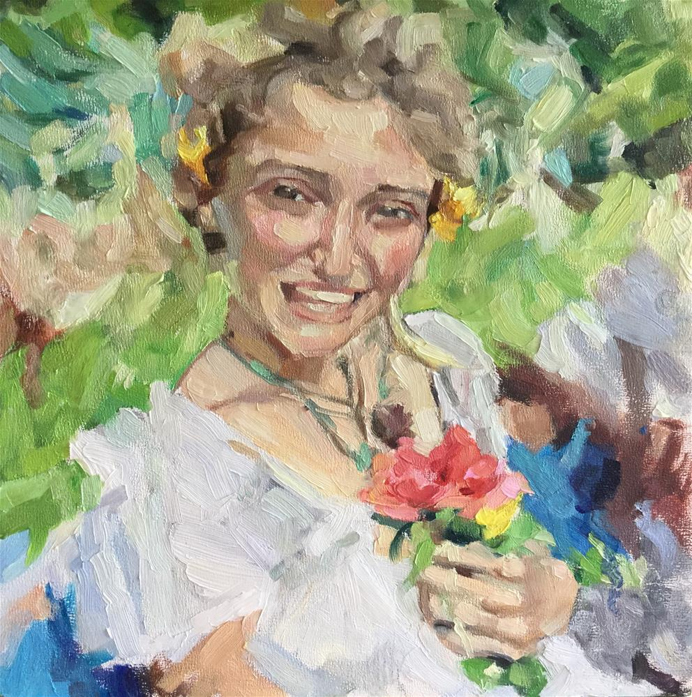 """Laughing girl with flowers"" original fine art by Paula Howson-Green"