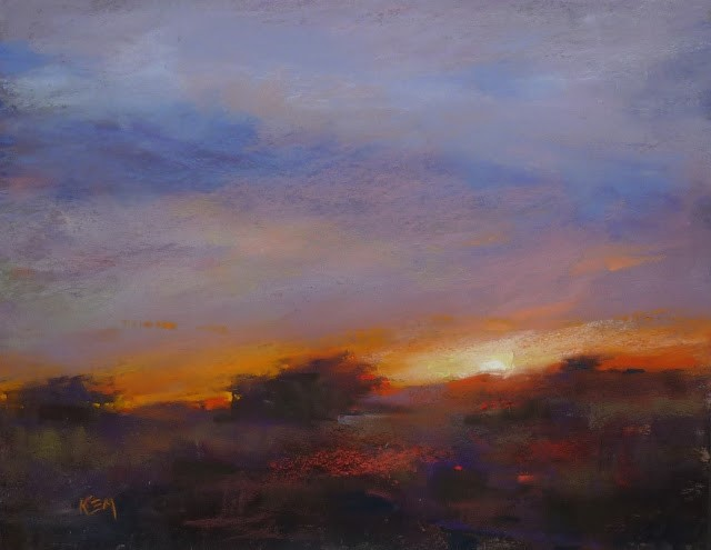 """Tips for Painting Magical Sunsets"" original fine art by Karen Margulis"