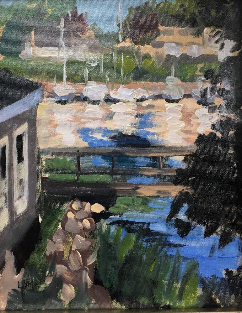 """Boats and Bridges to Branford Point"" original fine art by Linda Marino"