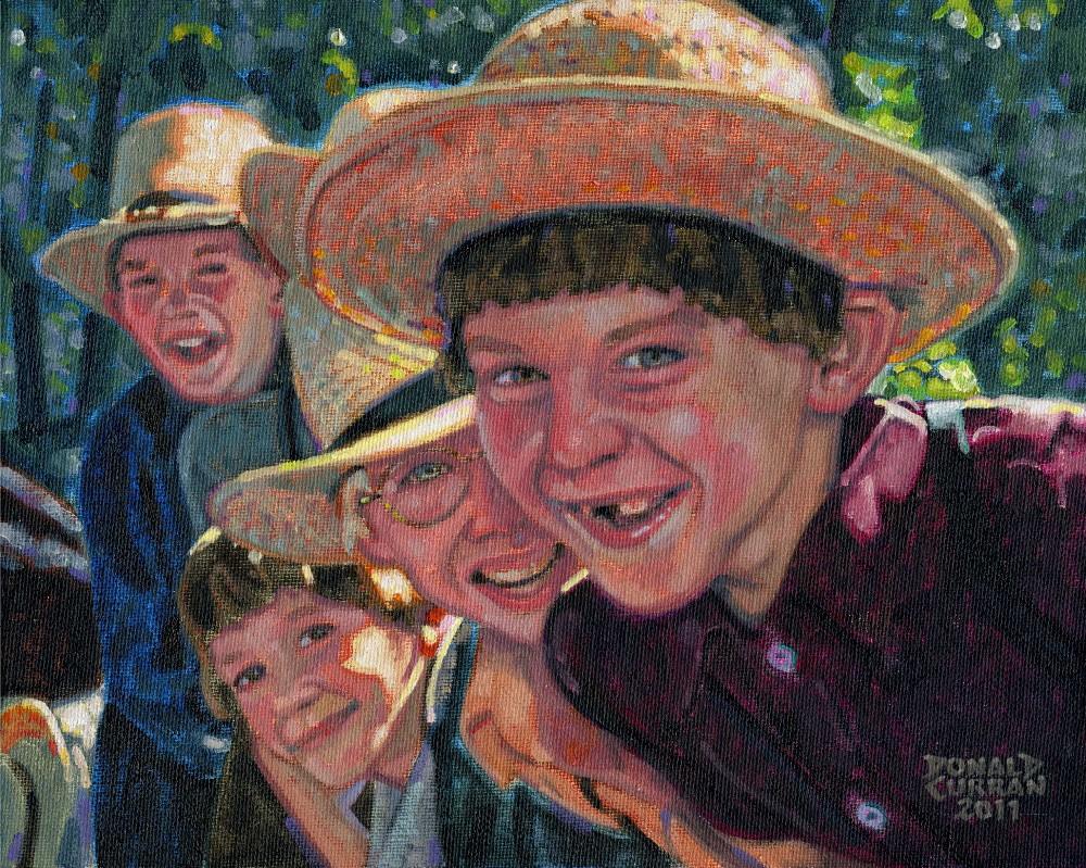"""Amish Boys"" original fine art by Donald Curran"