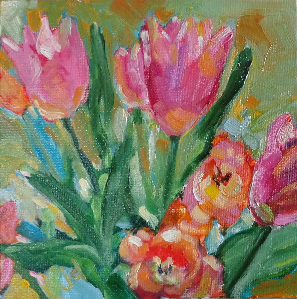 """In the pink…and orange"" original fine art by Jean Delaney"