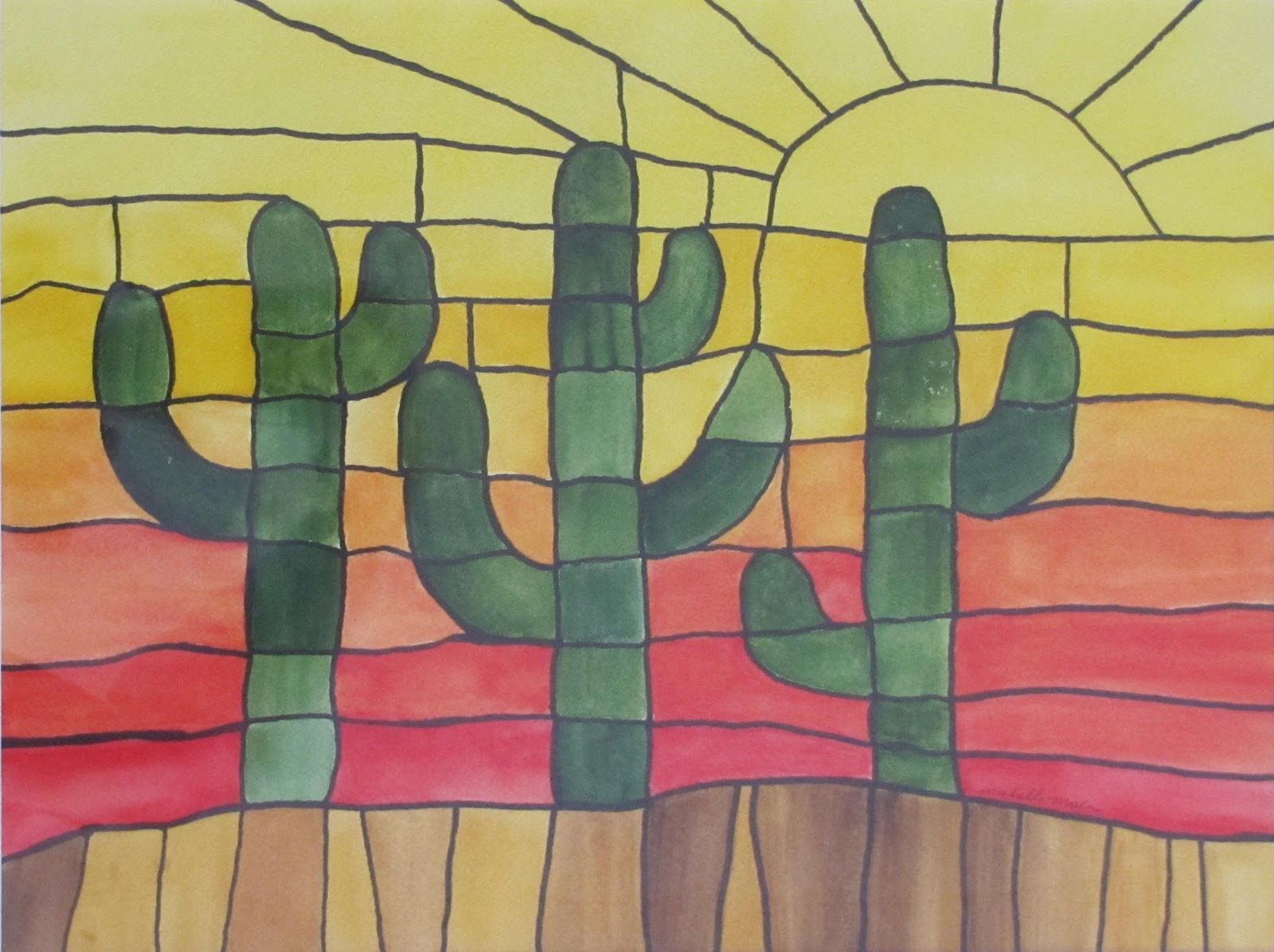 """""""Cactus at Sunset"""" original fine art by Michelle Wolfe"""