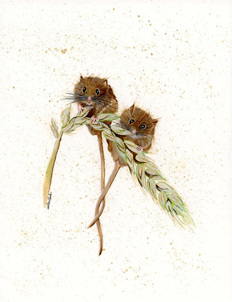 """Wheat Mice"" original fine art by Helen Kuhn"