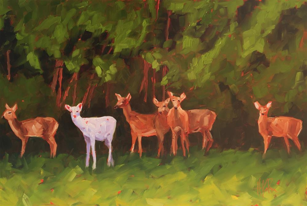 """Albino Deer"" original fine art by Hallie Kohn"