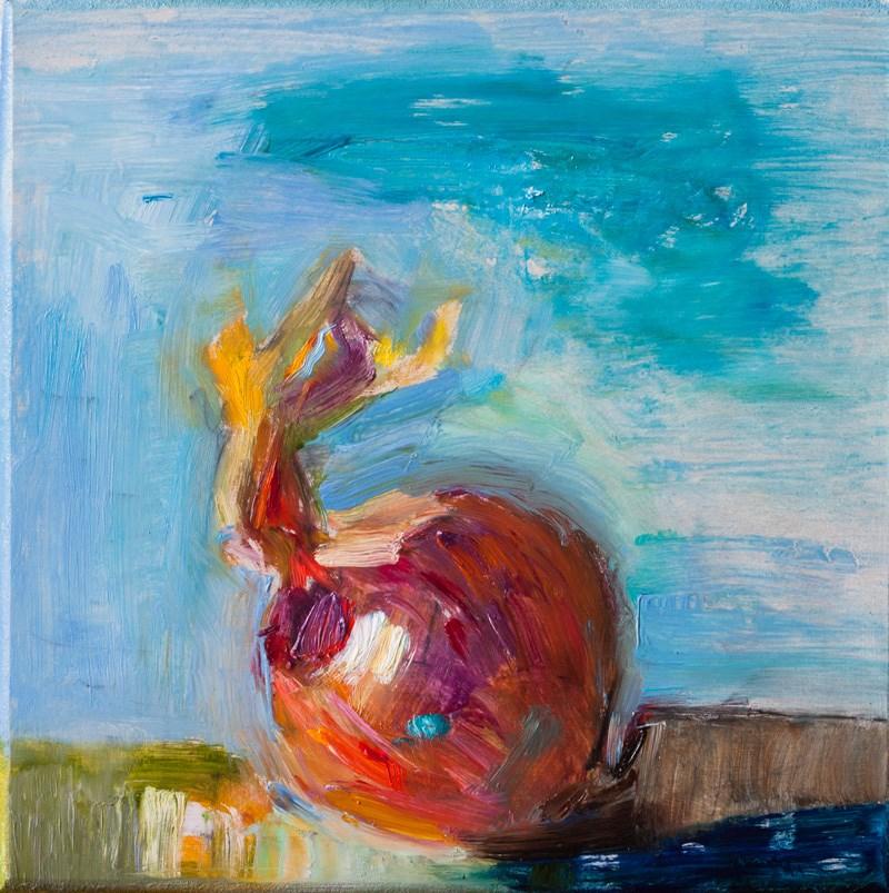 """An onion on a blue background"" original fine art by Anna Fine Art"