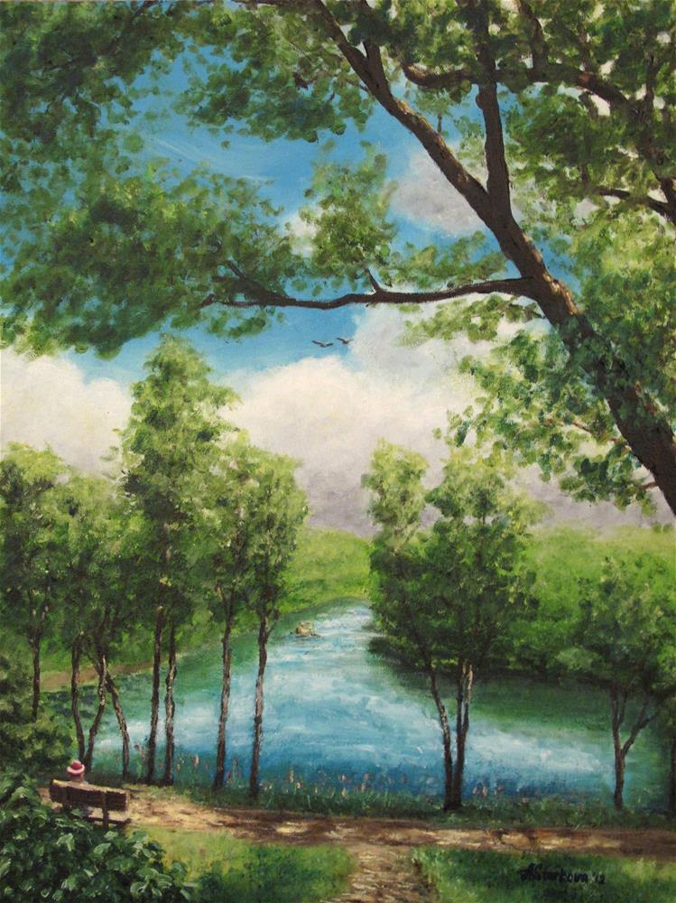 """River view"" original fine art by Anna Starkova"