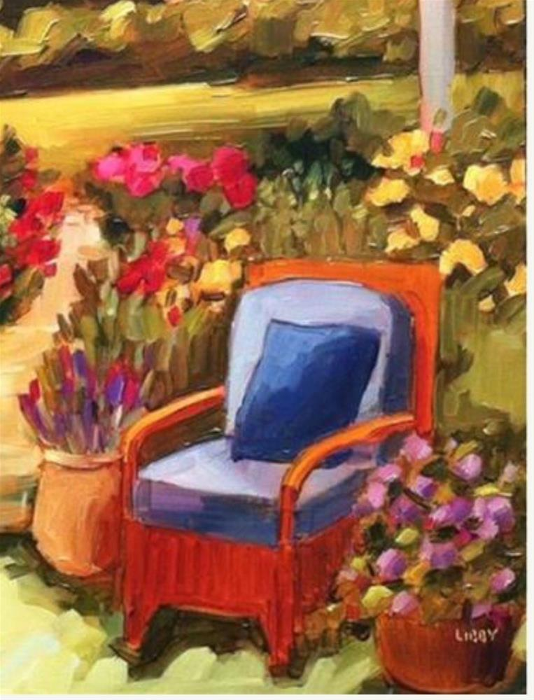 """Garden Seating"" original fine art by Libby Anderson"