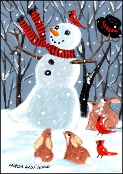 """Boogie Woogie Snowman"" original fine art by Patricia Ann Rizzo"